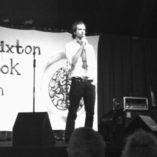 Chris performing at Brixton Book Jam